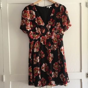 Black dress with multi-colored flowers